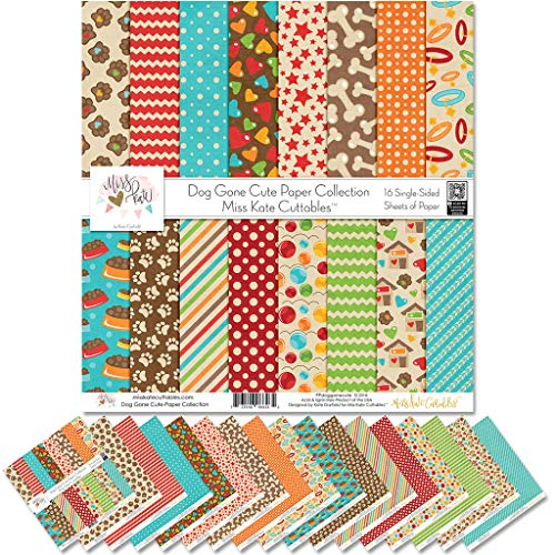 Pattern Paper Pack - Dog Gone Cute - Scrapbook Premium Specialty Paper Single-Sided 12'x12' Collection Includes 16 Sheets - by Miss Kate Cuttables