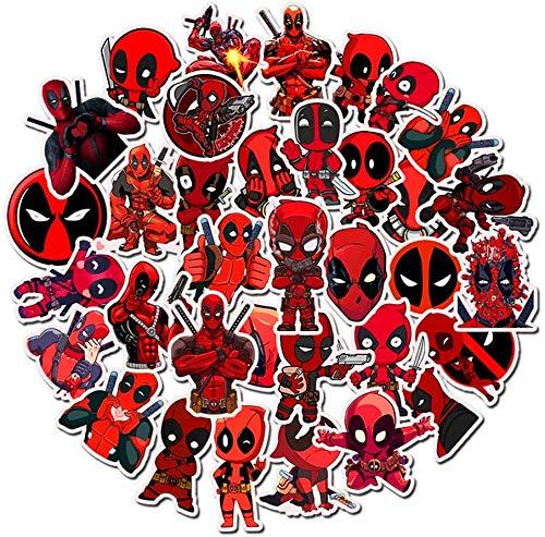 Adesivi per portatile e borracce, decalcomanie a tema Deadpool, 35 pezzi, motivo non ripetitivo, sbiadiscono difficilmente