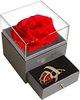 SWEETIME Red Rose Gift Box Enchanted Real Rose with Ruby Rose Brooch, Eternal Rose Flower in Jewelry Box, Handmade Preserved Rose, Gift for Girlfriend Wife On Valentine's Day,Anniversary,Birthday.