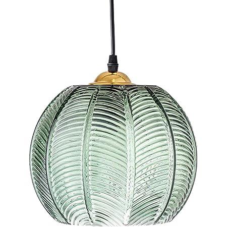 ZZXX Luminaire Suspension en Verre Abat-Jour Vert éclairage de Plafonnier Moderne Lampe Art déco Nordique Salon Salle à Manger Chambre Cuisine Salon intérieur Lampe Suspendue, E27,20cm