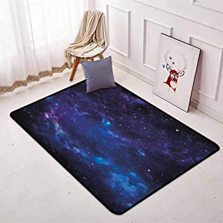 Sky Bedroom Carpet Space Illustration Night Time Universe Stars and Nebulas Distant Parts of Galaxy for Various Areas W47.2 x L63 Inch Purple Blue Black