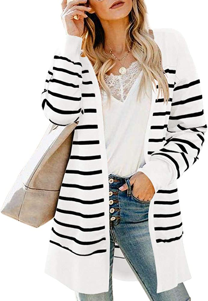PINKMSTYLE Womens Casual Striped Long Sleeve Open Front Lightweight Loose Long Knit Cardigan Sweater Coat