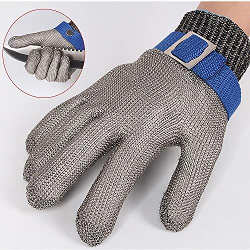 Snij-proof handschoenen roestvrij staal kwaliteit 5 stalen draad Plus PE stalen ring ijzer handschoenen snij-proof metalen slacht reparatie houtbewerking, grijs