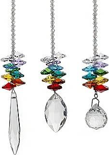 H&D Chandelier Crystals Prisms Rainbow Octagon Chakra Suncatcher, Set of 3