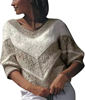 Aniywn Women's Plush Sweater Ladies V-Neck Casual Warm Winter Loose Knit Patchwork Pullover Top Shirt