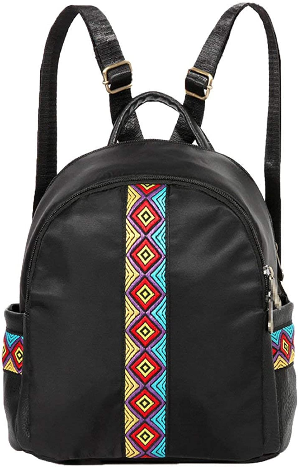 Kin Special Embroidered Nylon Waterproof Knapsack Woman Leisure Bag Travel Bag Casual Backpack