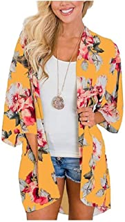 RkYAO Womens Printing Kimono Fashion Open Front Beach Cardigan Coat