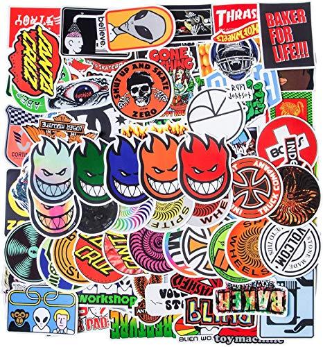 Cool Brand Stickers, 100PCS Fashion Skateboard Aufkleber, Coole Marke Computer Laptop Aufkleber wasserdichte Vinyl Aufkleber Gepäck Auto Fahrrad Fahrrad Wasserflasche für Jugendliche