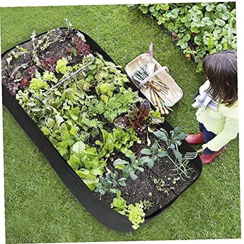 Crecer Gran Cama De Siembra Bolsa Criado Planter Recipiente Cuadrado Dividido Garden Bed 6 Rejillas para Multi Verduras del Jardín De Flores De Color Verde Oscuro