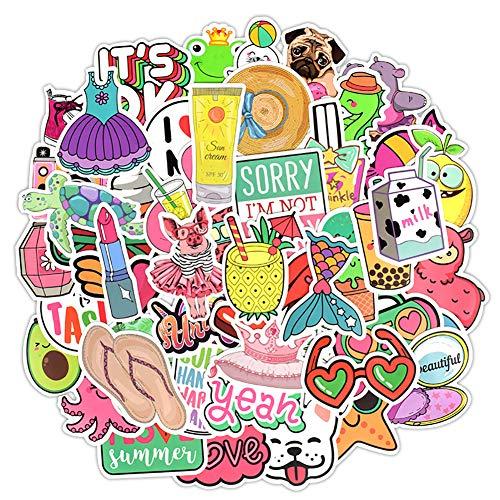 Aufkleber für Mädchen, niedlich, für Laptops, Wasserflasche, Skateboard, Motorrad, Handy, Fahrrad, Gepäck, Gitarre, Fahrrad, Fahrrad, 50 Stück Sommer niedliche Sticker