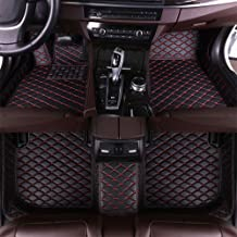 Maite Custom Car Floor Mat Fit for Audi S5 Saloon 2009-2016 Full Surrouded XPE Leather Waterproof Carpets Mats Black with Red Stitching