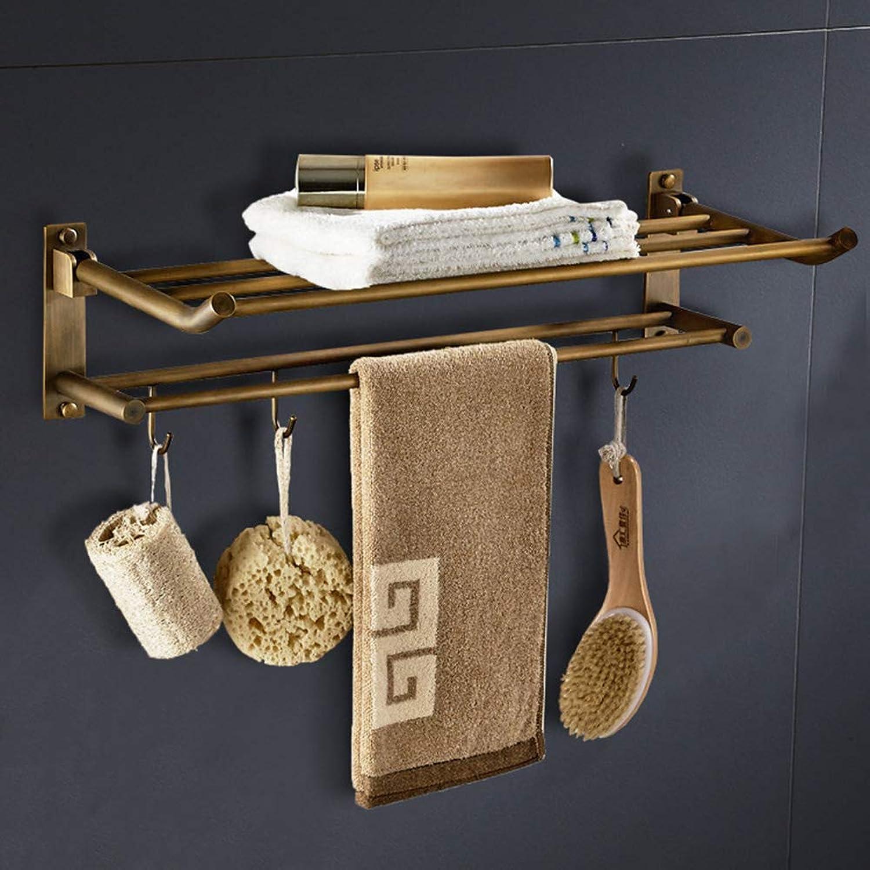 Bath Towel Rack Antique Towel Rack Copper Multi-Function Wall-Mounted Bathroom Shelf Bathroom Towel Rack Folding Towel Shelf Hardware Pendant