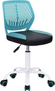 GreenForest Kids Desk Chair Pu Teens Rolling Chair Adjustable Height Computer Chair for Children Students Easy Clean Armless 360° Swivel Task Chair for Bedroom School, Turquoise and Black