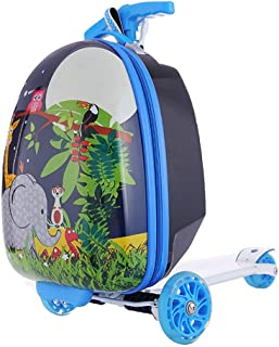 "17"" Kids Scooter Suitcase Ride-on Luggage Elephant Cartoon Zoo Mini Scootcase Children's Suitcase With Collapsible Scooter Baby Foldable Scootie Rolling Trolley Case Slide Car Toddler Stand Skateboard"