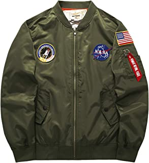 Men's Patches Embroidery Flight Bomber Pilot Jacket Windbreaker Military Outwear Coat