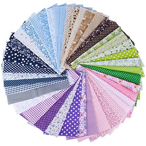 (100% Baumwolle) 42 Stück 6 Farbsystem Patchwork Stoffe 25 x 25 cm Bunte Baumwollstoff Set Stoffpaket DIY Baumwolltuch Stoffreste Paket Stoffpakete
