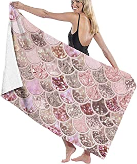 Lxhff Bath Towel Beach Towel for Travel - Quick Dry, Absorbent, Compact. Best Lightweight Towel for The Swimming, Sports, Beach, Shower(Pink Mermaid Fish Scales) 80X130cm