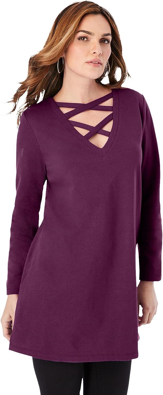 Roaman's Women's Plus Size Crisscross Sweatshirt Tunic