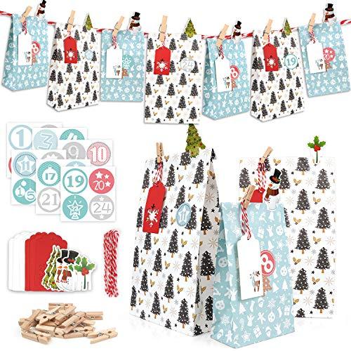 ONEHAUS Geschenk Papiertüten groß, Geschenk Papiertueten Zum Selber Befüllen Basteln Pinguin Advents Tüten