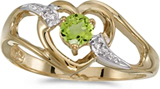 10k Yellow Gold Round Peridot And Diamond Heart Ring