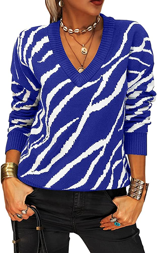 outlet Women V Neck Knitted Tulsa Mall Sweater Long Sleeve Casual Striped Pullover