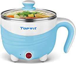 Electric Hot Pot 1.5L, Rapid Noodles Cooker, Mini Pot, Cook Perfect for Ramen, Egg, Pasta, Dumplings, Soup, Porridge, Oatmeal, Blue - A Must Have Cooker for Student – Topwit