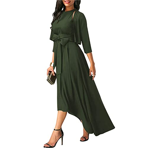 bd8d041da SOLERSUN Women's Elegant Jacket+Belt+Dress Formal Asymmetrical Long Dresses  for Summer