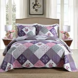 Homcosan Quilt Bedspreads Sets Queen/Full Size (90x98 inches), Reversible Purple Floral Patchwork Patterns, Lightweight Coverlet for All Season, 3-Piece Bedding (1 Quilt + 2 Pillow Shams)