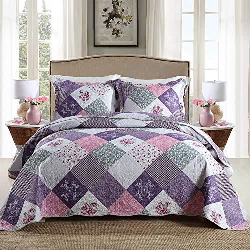 Homcosan - Juego de colcha para todas las estaciones, ropa de cama de 3 piezas (1 edredón + 2 fundas de almohada)