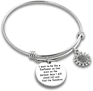 Kivosliviz Sunflower Bracelets for Women I Want to be Like a Sunflower so That Even on The Darkest Days I Will Stand Tall and Find The Sunshine Sunflower Charm Bracelet Sunflower Bangle Jewelry Gifts