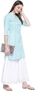 Khushal K Women's Cotton Kurta With Sharara Palazzo Set