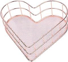 Bandeja de armazenamento de metal forjado minimalista em forma de coração da VICASKY, bandeja organizadora para joias, dec...