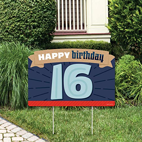 Big Dot of Happiness Boy 16th Birthday - Sweet Sixteen Birthday Party Yard Sign Lawn Decorations - Happy Birthday Party Yardy Sign