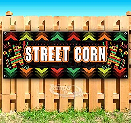 Mexican Corn Here 13 oz Banner Heavy-Duty Vinyl Single-Sided with Metal Grommets