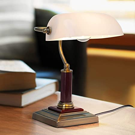 Elégante lampe de banquier, lampe de bureau, avec pied en bois, 1x E27 max. 60W, métal/bois/verre/laiton antique