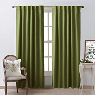 NICETOWN Living Room Blackout Draperies Curtains – (Olive Green Color) W52 x L84, 2..