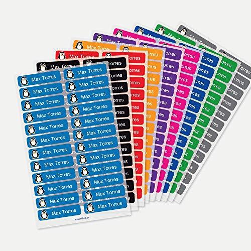 Etiquetas para ropa personalizadas Stikets® con 1 línea de texto para marcar todas las prendas de los niños para el cole o la guardería (96)