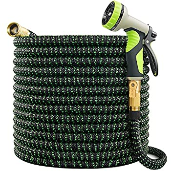 VIENECI 100ft Garden Hose Expandable Hose Durable Flexible Water Hose 9 Function Spray Hose Nozzle Solid Brass Connectors Extra Strength Fabric Lightweight Expanding Hose