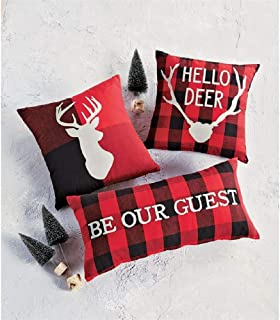 Mud Pie Christmas Deer Buffalo Check Pillow (Be Our Guest)