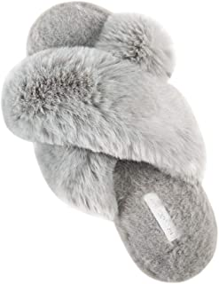 HENGYAN Women's Cross Band Soft Plush Fleece House/Outdoor Slippers (Large,Grey)