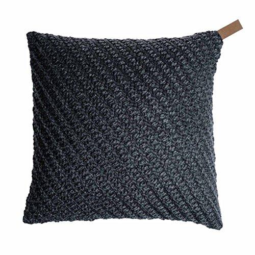 Black Velvet Studio Funda cojín Knot 80% Lana y 20% poliéster, Color Gris Oscuro. Tejido con Nudos Rico en Textura 45x45 cm.