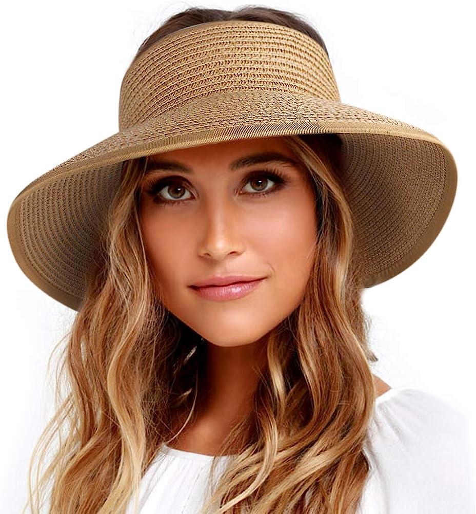 FURTALK Sun Visor Hats for Women Wide Brim Straw Roll Up Ponytail Summer Beach Hat UV UPF Packable Foldable Travel