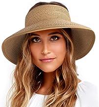 FURTALK Sun Visor Hats for Women Wide Brim Straw Roll Up Ponytail Summer Beach Hat UV UPF 50 Packable Foldable Travel