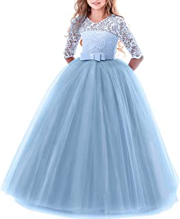 277ea2cbec19 Girl's Embroidery Tulle Lace Maxi Flower Girl Wedding Dress 3/4 Sleeve Long  A Line