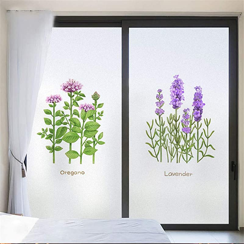 J4U No Glue Static Cling Window Film Nordic Plant Flower Decorative Privacy Glass Film For Living Room Bedroom Kitchen Lobby Porch Office 40 Sizes