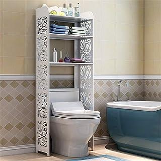 Étagère sur les toilettes Support de rangement salle de bains économiseur d'espace sur les toilettes 3 étagères autoportan...