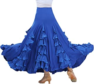 Whitewed Long Modern Flamenco Waltz Standard Ballroom Dance Fancy Training Skirt