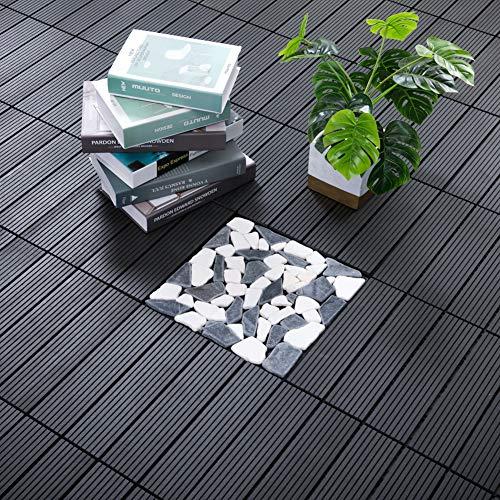"PANDAHOME 22 PCS Wood Plastic Composite Patio Deck Tiles, 12""x12"" Interlocking Decking Tiles, Water Resistant for Indoor & Outdoor, 22 sq. ft - Westminster Grey"