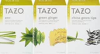 Tazo Green Tea Sampler, Zen & Green Ginger & China Green Tips, 20 Filterbags Each