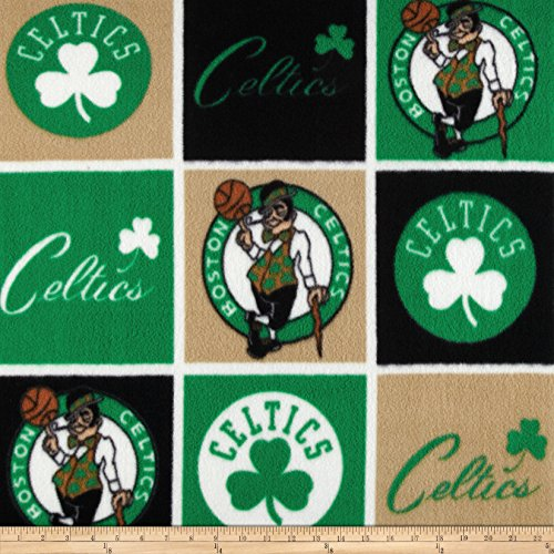 Fabrique Innovations, 0391770 NBA Fleece Boston Celtics Block Fabric by The Yard, Multi